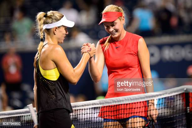 Donna Vekic of Croatia shakes hands with Angelique Kerber of Germany after their second round match at the 2017 Rogers Cup tennis tournament on...