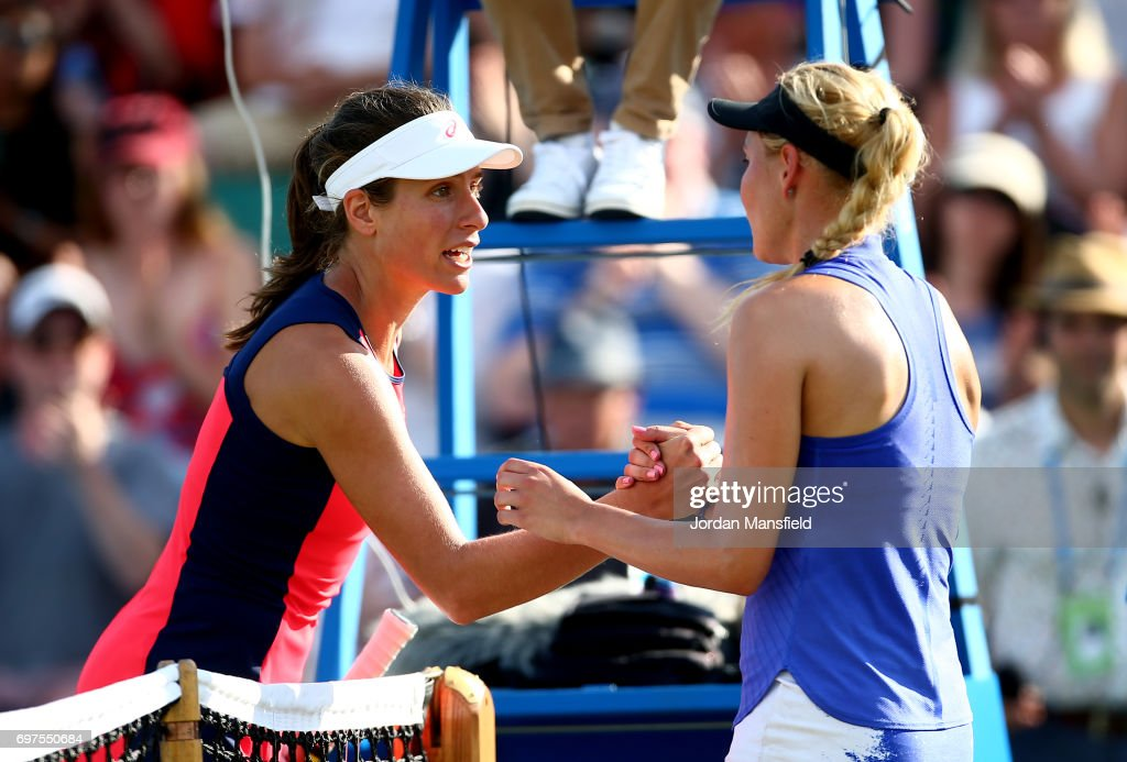 Donna Vekic of Croatia (R) shakes hands with Johanna Konta of Great Britain (L) after victory in their Women's Singles Final match against Johanna Konta of Great Britain during day 7 of the Aegon Open Nottingham at the Nottingham Tennis Centre on June 18, 2017 in Nottingham, England.
