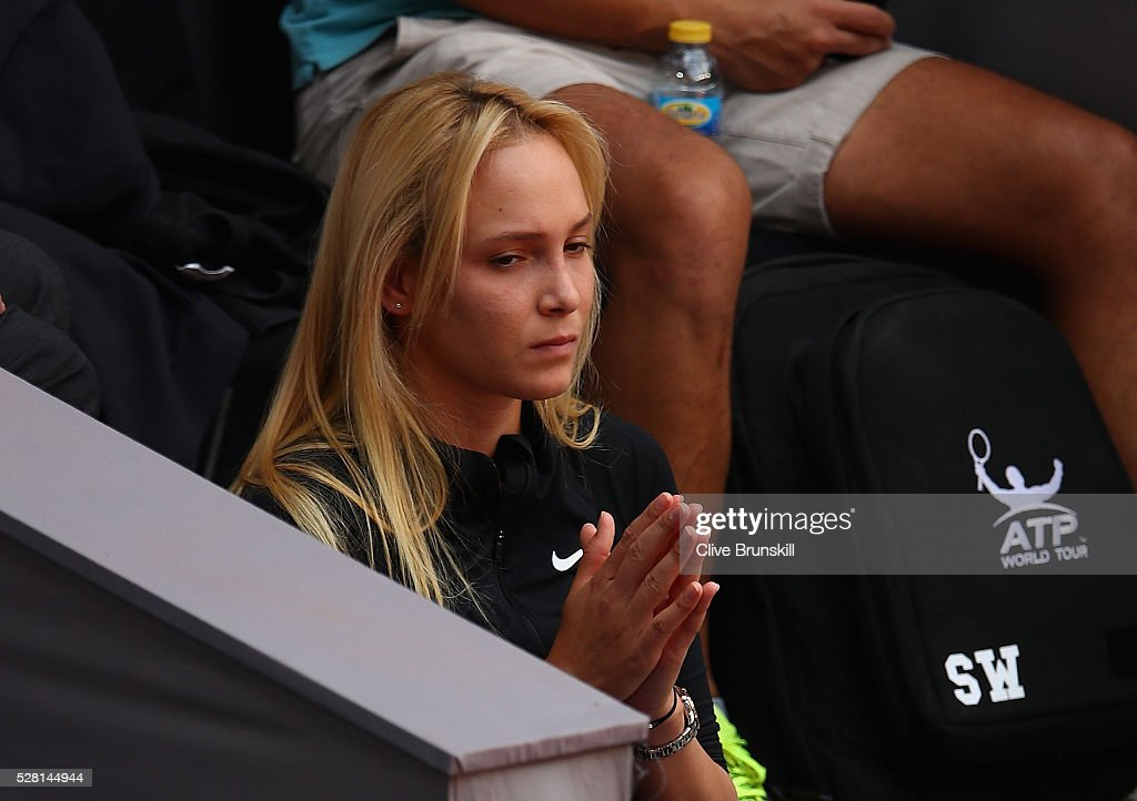 Donna Vekic of Croatia watches Stanislas Wawrinka of Switzerland during his straight sets defeat against Nick Kyrgios of Australia in their second round match during day five of the Mutua Madrid Open tennis tournament at the Caja Magica on May 04, 2016 in Madrid.