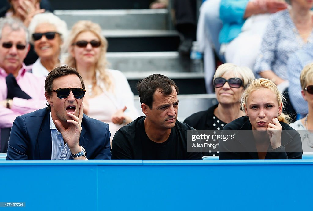 Donna Vekic of Croatia watches the match between Stanislas Wawrinka of Switzerland and Kevin Anderson of South Africa during day three of the Aegon...