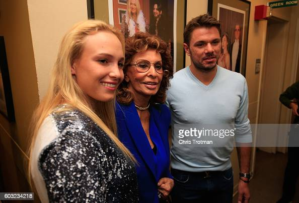 Donna Vekic of Croatio Stan Wawrinka of Switzerland the 2016 US Open Men's Champion and actress Sophia Loren meet prior to his appearance on Live...