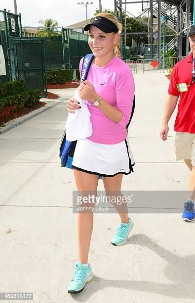 Donna Vekic participates in the 25th Annual Chris Evert/Raymond James ProCelebrity Tennis Classic at Delray Beach Tennis Center on November 23 2014...