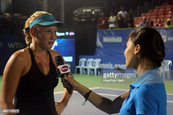 Donna Vekic speaks to the crowd after her win against Dominika Cibulkova of Slovakia in the singles final during day three of the Malaysian Tennis...