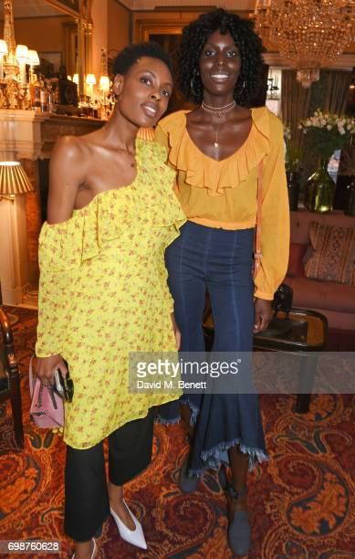 Donna Wallace and Jenny Bastet attend a cocktail evening to celebrate the Edie Parker Resort 2018 collection at Mark's Club on June 20 2017 in London...