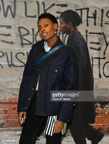 Donna Wallace attends a private view of the Basquiat exhibition cohosted by NETAPORTER in partnership with Frieze at Barbican Centre on October 5...