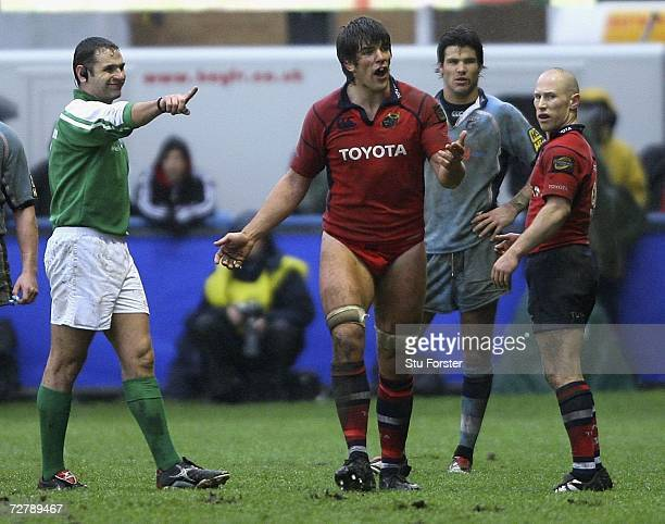 Donnacha O'Callaghan of Munster is sent to the sidelines to put on some shorts after the forward decided to play on in only his underpants during the...