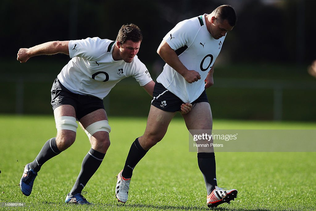 Donnacha Ryan and <a gi-track='captionPersonalityLinkClicked' href=/galleries/search?phrase=Cian+Healy&family=editorial&specificpeople=4166531 ng-click='$event.stopPropagation()'>Cian Healy</a> run through drills during an Ireland rugby team training session at Onewa Domain on June 7, 2012 in Takapuna, New Zealand.