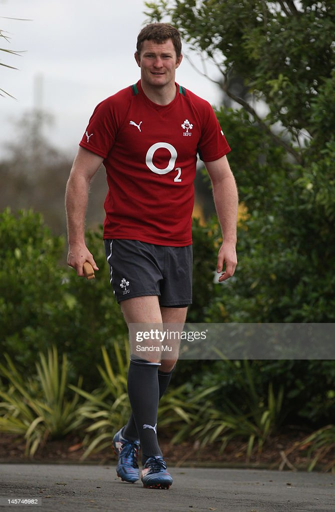 Donnacha Ryan of Ireland arrives for the Ireland team training session at Onewa Domain on June 5, 2012 in Takapuna, New Zealand.