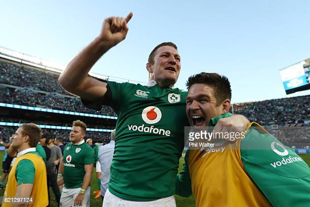 Donnacha Ryan of Ireland celebrates following his team's 4029 victory during the international match between Ireland and New Zealand at Soldier Field...