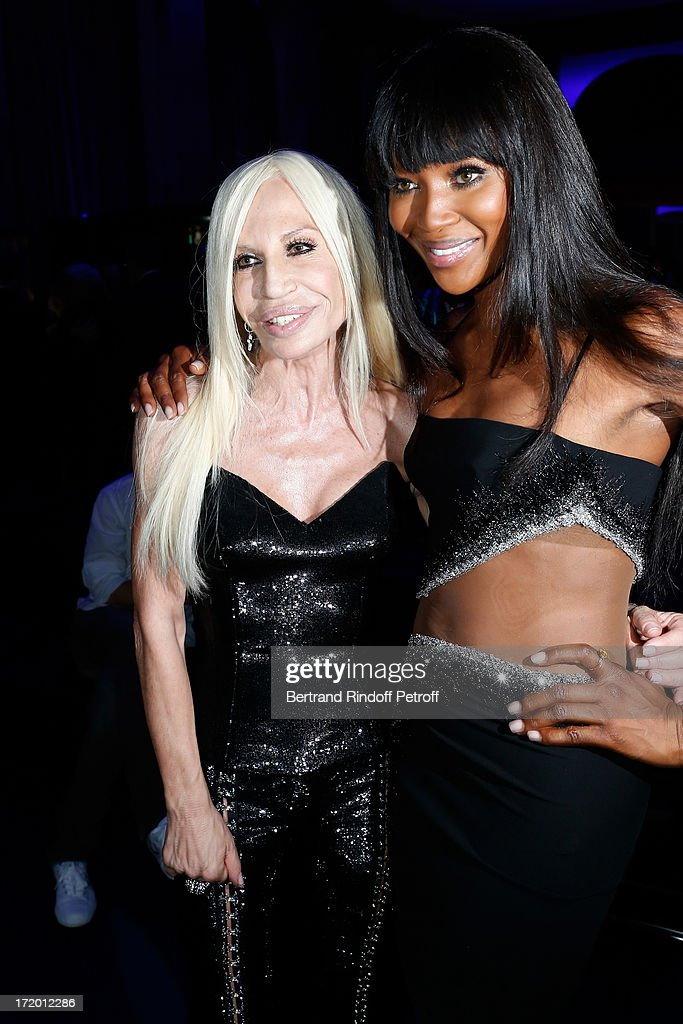 Donnatella Versace and <a gi-track='captionPersonalityLinkClicked' href=/galleries/search?phrase=Naomi+Campbell&family=editorial&specificpeople=171722 ng-click='$event.stopPropagation()'>Naomi Campbell</a> backstage at Versace show as part of Paris Fashion Week Haute-Couture Fall/Winter 2013-2014 at on June 30, 2013 in Paris, France.