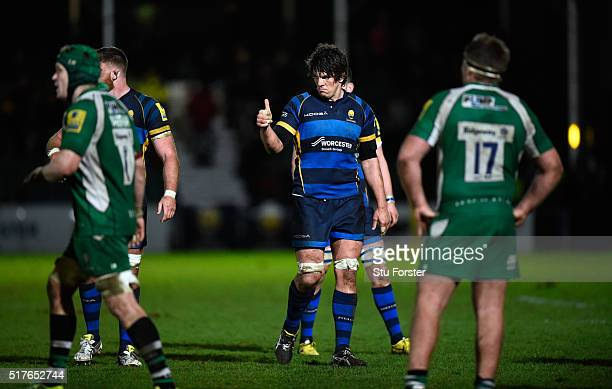 Donncha O' Callaghan of Worcester reacts during the Aviva Premiership match between Worcester Warriors and London Irish at Sixways stadium on March...