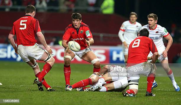 Donncha O'Callaghan of Munster passes the ball during the Heineken Cup match between Munster and Saracens at Thomond Park on December 8 2012 in...