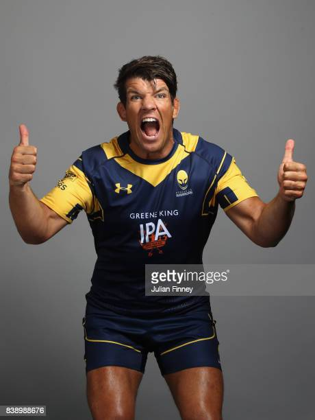 Donncha O'Callaghan of Worcester celebrates whilst posing for a portrait during the Worcester Warriors Photocall for the 20172018 Aviva Premiership...