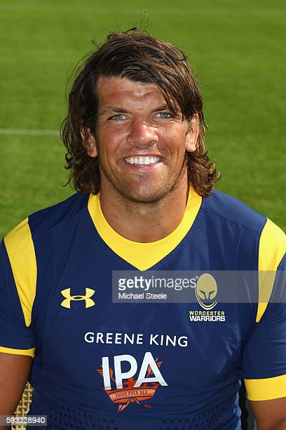 Donncha OCallaghan poses for a portrait during the Worcester Warriors squad photo call for the 20162017 Aviva Premiership Rugby season on August 17...