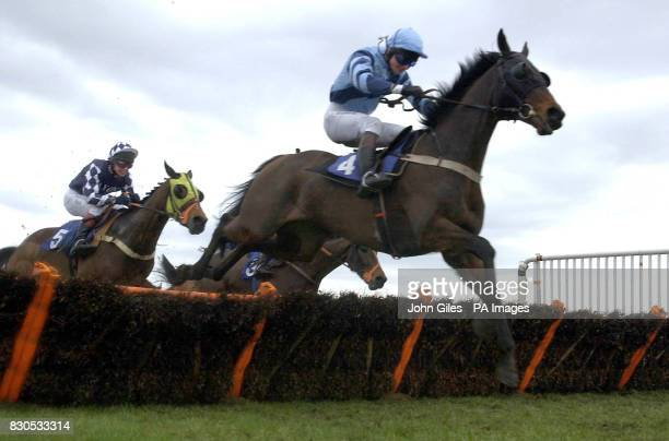 Donnegale and JP McNamara go on to win the Tote Credit Club Handicap Hurdle at Catterick Races from second place Lochbuy Junior ridden by Jim Crowley...