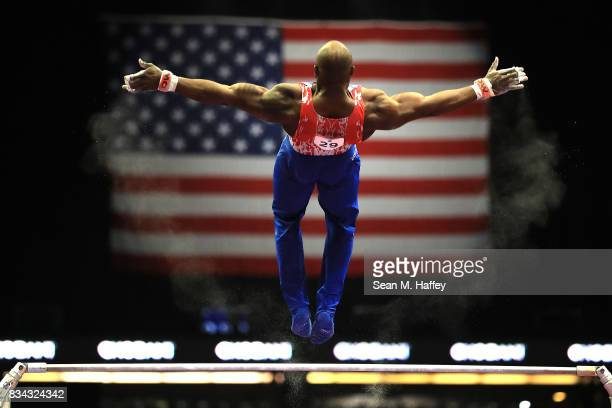 Donnell Whittenburg competes on the High Bar during the PG Gymnastics Championships at Honda Center on August 17 2017 in Anaheim California