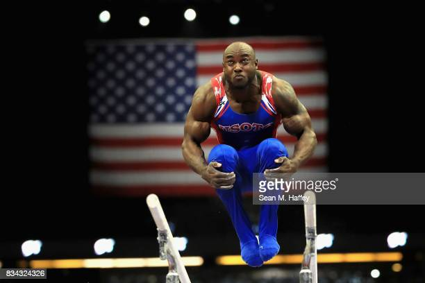 Donnell Whittenburg competes on the Parallel Bars during the PG Gymnastics Championships at Honda Center on August 17 2017 in Anaheim California