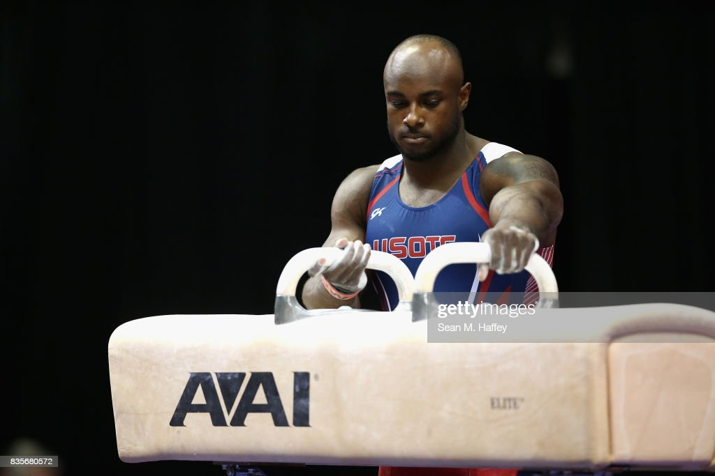 Donnell Whittenburg competes on the Pommel Horse during the P&G Gymnastic Championships at Honda Center on August 19, 2017 in Anaheim, California.