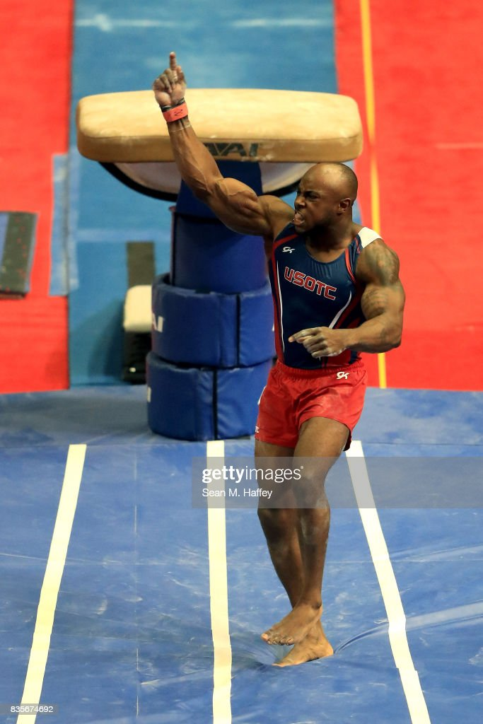 Donnell Whittenburg competes on the Vault during the P&G Gymnastic Championships at Honda Center on August 19, 2017 in Anaheim, California.