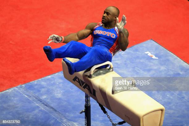 Donnell Whittenburg falls while competing on the Pommel Horse during the PG Gymnastics Championships at Honda Center on August 17 2017 in Anaheim...