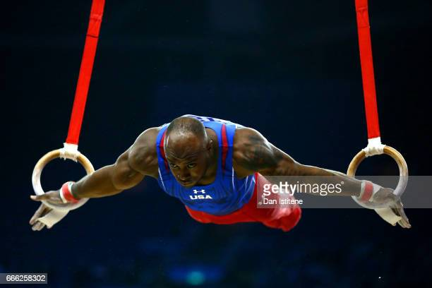 Donnell Whittenburg of the United States competes on the rings during the men's competition for the iPro Sport World Cup of Gymnastics at The O2...