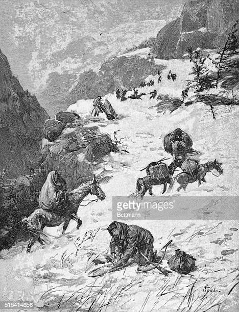 Donner Expedition On the way to the Summit 1846 Engraving