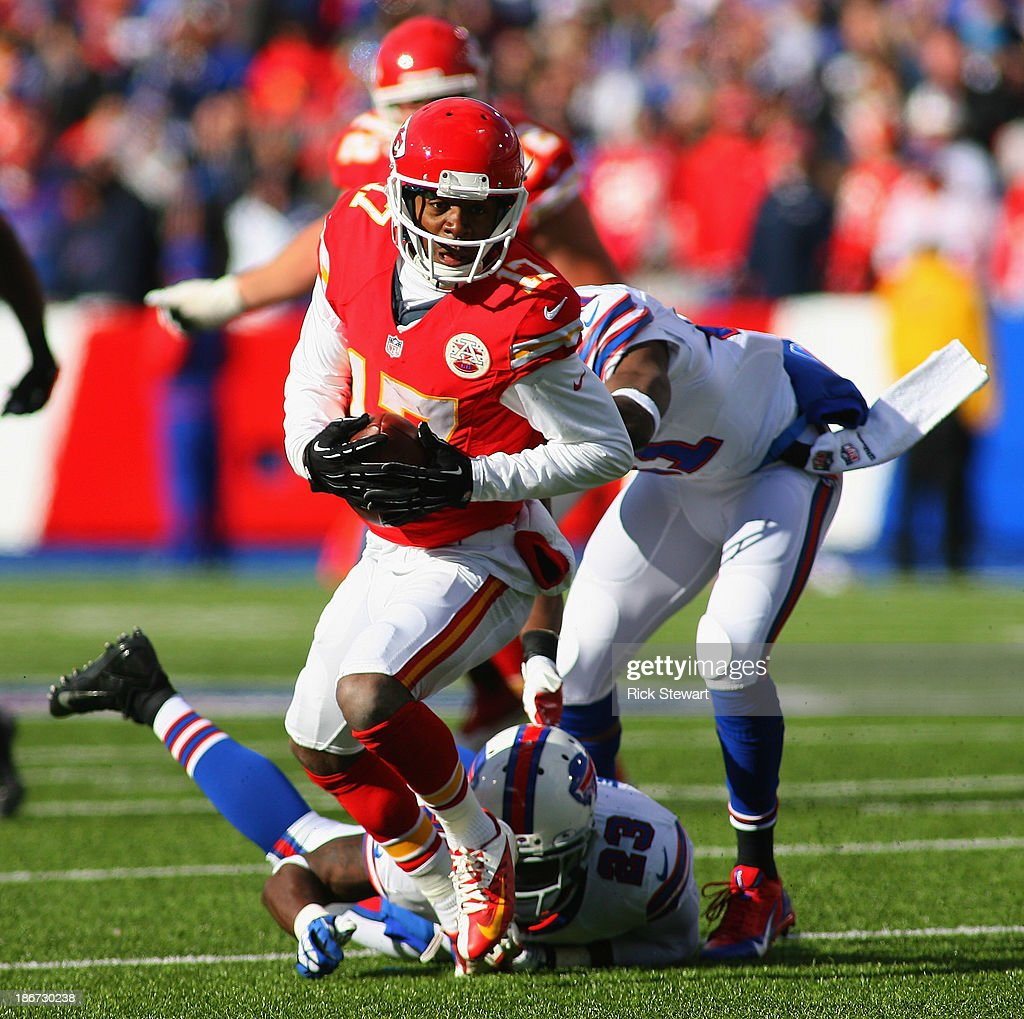 Donnie Avery #17 of the Kansas City Chiefs runs after a catch against the Buffalo Bills at Ralph Wilson Stadium on November 3, 2013 in Orchard Park, New York. Kansas City won 23-13.