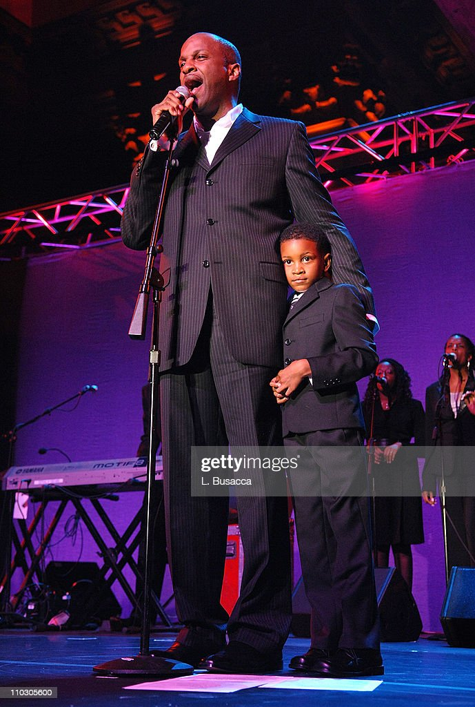 Donnie McClurkin performs'Stand' with the Choir Academy of Harlem during the Recording Academy New York Chapter's Tribute to Bon Jovi Alicia Keys...