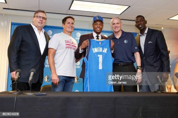 Donnie Nelson Mark Cuban Dennis Smith Jr Rick Carlisle and Michael Finley of the Dallas Mavericks introduce their 2017 draft pick Dennis Smith Jr...