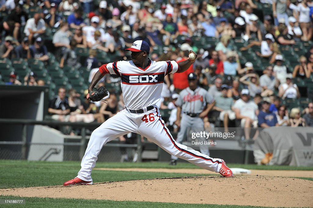 Donnie Veal #46 of the Chicago White Sox pitches against the Atlanta Braves during the seventh inning on July 21, 2013 at U.S. Cellular Field in Chicago, Illinois. The Chicago White Sox defeated the Atlanta Braves 3-1.