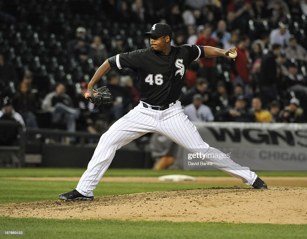 Donnie Veal #46 of the Chicago White Sox pitches against the Tampa Bay Rays during the eighth inning on April 27, 2013 at U.S. Cellular Field in Chicago, Illinois.