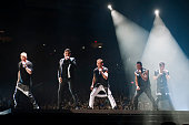 Donnie Wahlber Jonathan Knight Joey McIntyre Danny Wood and Jordan Knight of New Kids On The Block perform at Allstate Arena on May 23 2015 in...