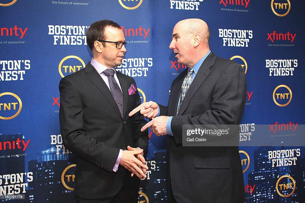 Donnie Wahlberg and Dan Linskey attend TNT's 'Boston's Finest' premiere screening at The Revere Hotel on February 20, 2013 in Boston, Massachusetts.