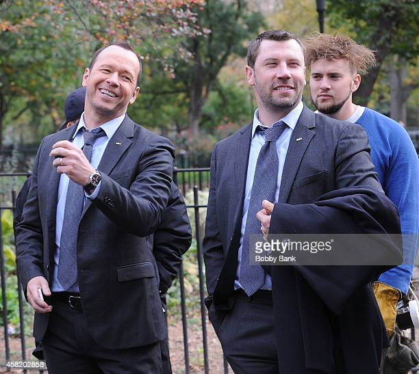 Donnie Wahlberg and his standin on the set of 'Blue Bloods' on October 31 2014 in New York City