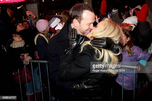 Donnie Wahlberg and Jenny Mccarthy attend Dick Clark's New Year's Rockin' Eve with Ryan Seacrest 2014 on December 31 2013 in New York New York