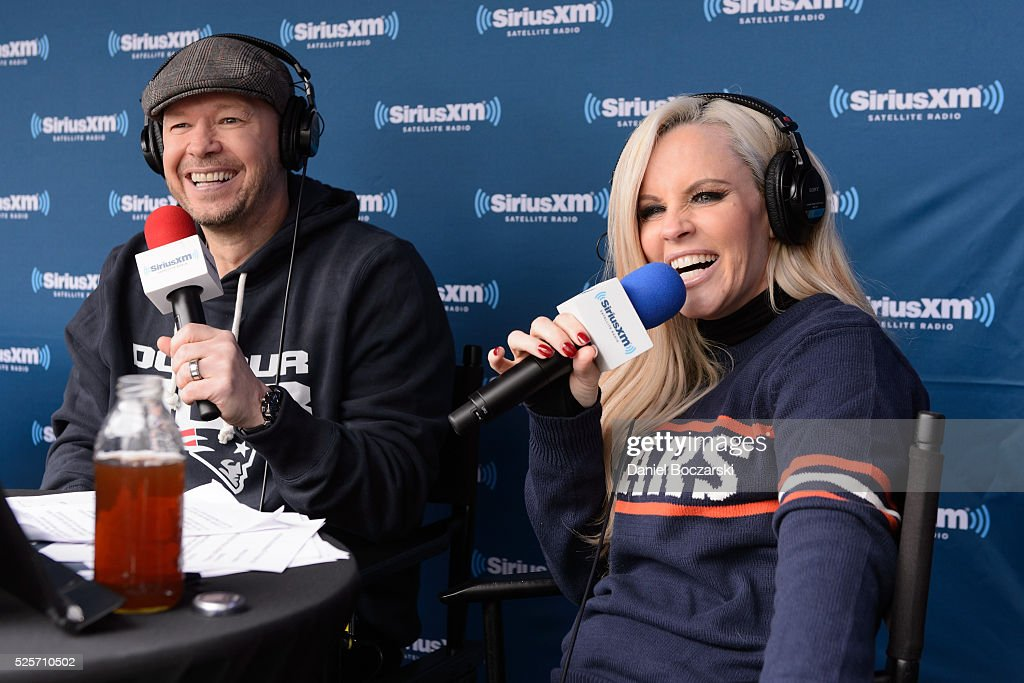 Donnie Wahlberg and Jenny McCarthy attend Jenny McCarthy's SiriusXM show from Grant Park in Chicago IL before the NFL Draft on April 28 2016 in...