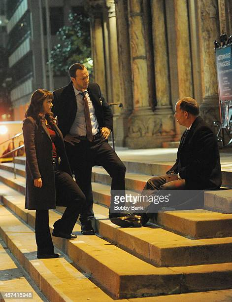Donnie Wahlberg and Marisa Ramirez on the set of 'Blue Bloods' on October 17 2014 in New York City