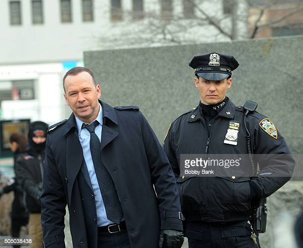 Donnie Wahlberg and Will Estes on the set of 'Blue Bloods' on January 14 2016 in New York City