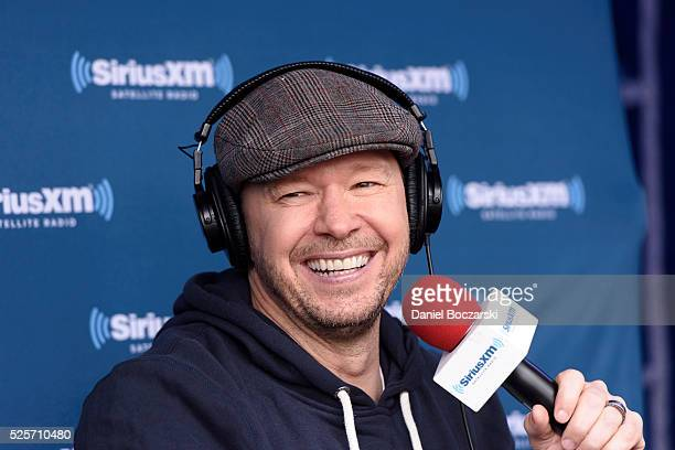 Donnie Wahlberg attends Jenny McCarthy's SiriusXM show from Grant Park in Chicago IL before the NFL Draft on April 28 2016 in Chicago Illinois