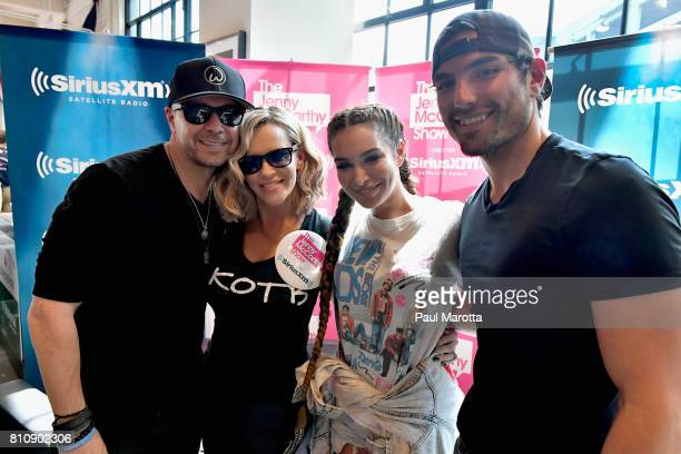 Donnie Wahlberg Jenny McCarthy Ashley Iaconetti and Jared Haibon on the set as Jenny McCarthy hosts her SiriusXM Show backstage at Fenway Park in...