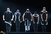 Donnie Wahlberg Jonathan Knight Jordan Knight Danny Wood and Joey McIntyre of New Kids On The Block perform on stage at Tacoma Dome on May 6 2015 in...