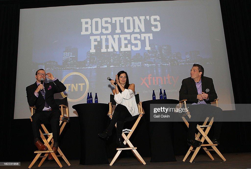Donnie Wahlberg, Julie Jarrett and Seth Jarrett attend TNT's 'Boston's Finest' premiere screening at The Revere Hotel on February 20, 2013 in Boston, Massachusetts.