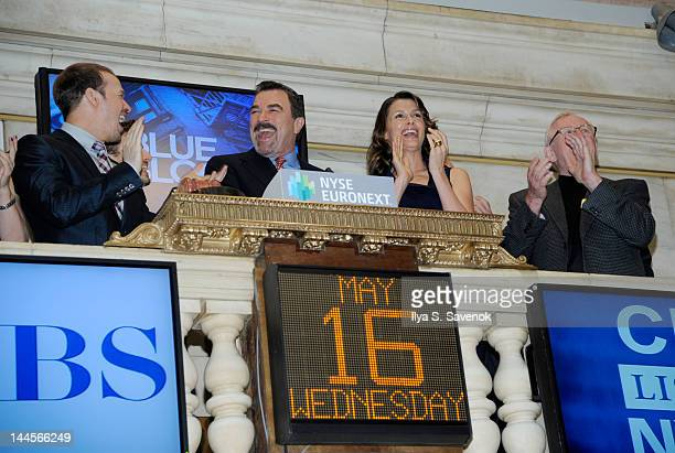 Donnie Wahlberg Tom Selleck Bridget Moynahan and Len Cariou ring the bell at the New York Stock Exchange on May 16 2012 in New York City