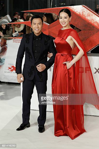 Donnie Yen and Cissy Wang attend the European premiere of 'xXx' Return of Xander Cage' at Cineworld 02 Arena on January 10 2017 in London United...