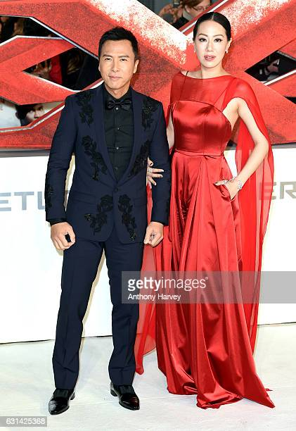 Donnie Yen and Cissy Wang attend the European premiere of 'xXx' Return of Xander Cage' on January 10 2017 in London United Kingdom