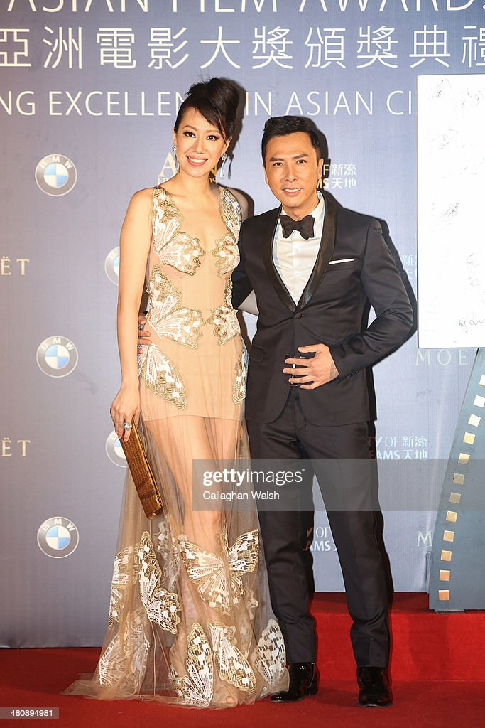Donnie Yen and wife Cecilia Wang of Hong Kong attend the Asia Film Awards 2014 at the Grand Hyatt Hotel on March 27 2014 in Macau Macau