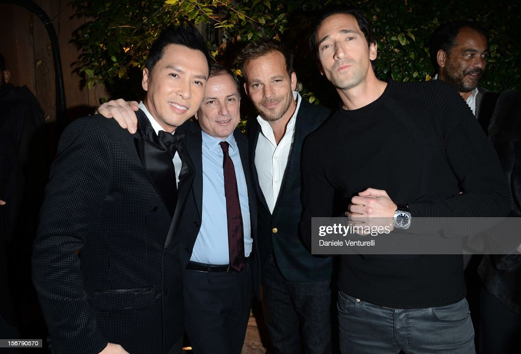 Donnie Yen Michael Burke Stephen Dorff and Adrien Brody attend the Bulgari 'Stop Think Give' exhibition preview and cocktail at Palazzo Pecci Blunt...