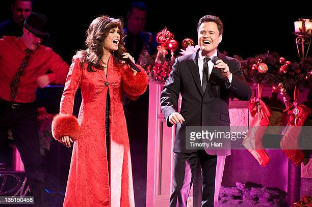 Donny and Marie Osmond attend the opening night of 'Donny and Marie Christmas in Chicago' at the Oriental Theatre on December 6 2011 in Chicago...
