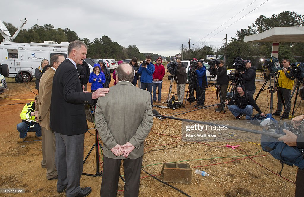 Donny Bynum, Superintendent of Dale County Schools speaks to the media about Ethan, the elementary school student held in the 6 day hostage standoff February 5, 2013. Nathan, 5 year-old, was rescued after 6 days of captivity when the FBI stormed the bunker killing suspect, Jimmy Lee Dykes