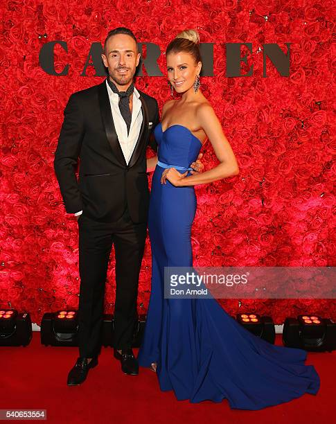 Donny Galella and Erin Holland arrive ahead of opening night of Opera Australia's production of Carmen at Sydney Opera House on June 16 2016 in...